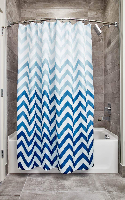 Amazon.com: InterDesign 52020 Ombre Chevron Fabric Shower Curtain ...