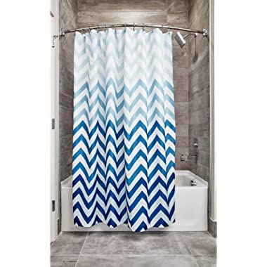 InterDesign Ombre Chevron Fabric Shower Curtain, Modern Mildew-Resistant Bath Liner for Master, Kid's, Guest Bathroom, 72 x 72 Inches Blue and White