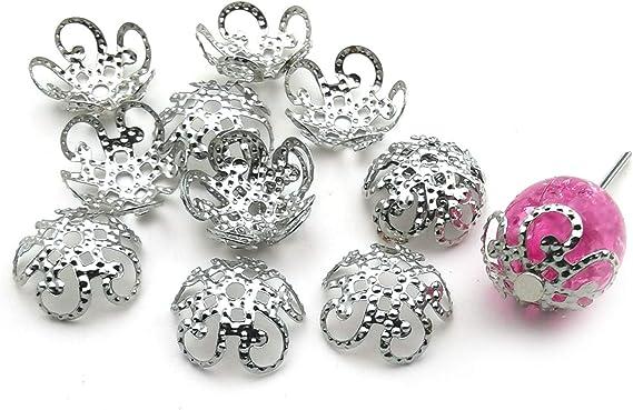 EM0247-G Flower End Cap Bowl supply for girls necklace pendant bracelet charm tassel 2 PCS 17 mm Gold plated