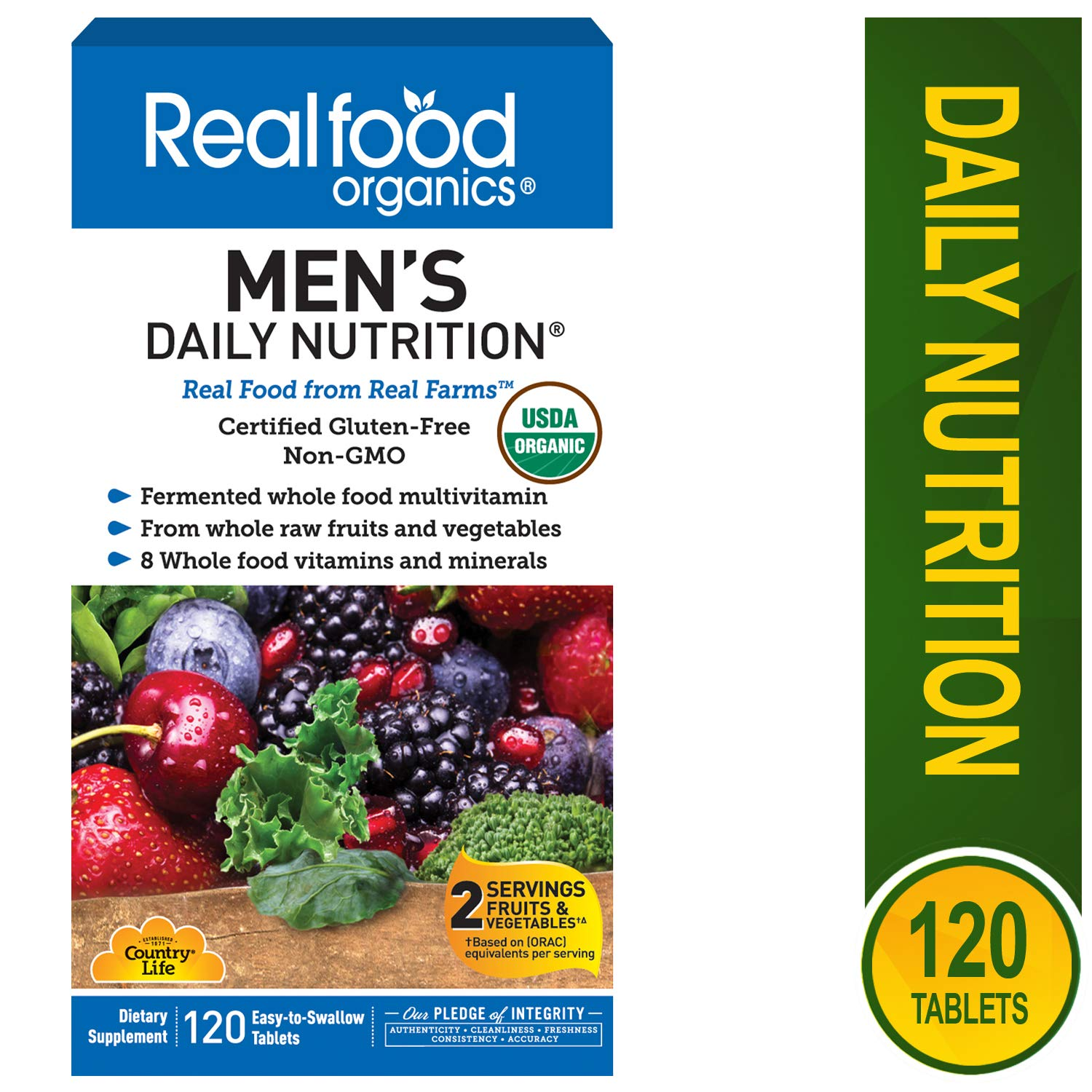 Country Life Realfood Organics Men s Daily Nutrition – 120 Tablets – Easy to Swallow – Wholefood Multi-Vitamin