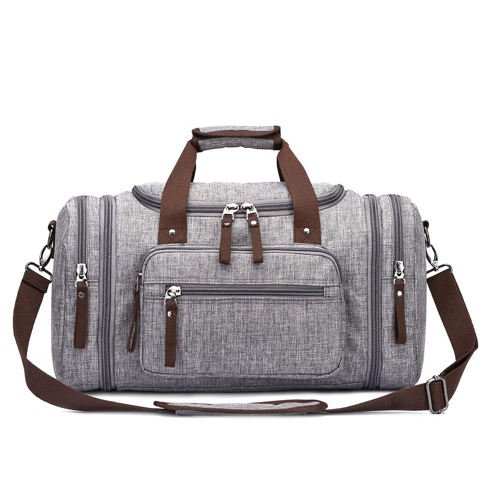 Toupons 20.8'' Travel Duffel Bag Men's Weekender Duffle Bag Overnight Bag Water-resistance (Grey-New)