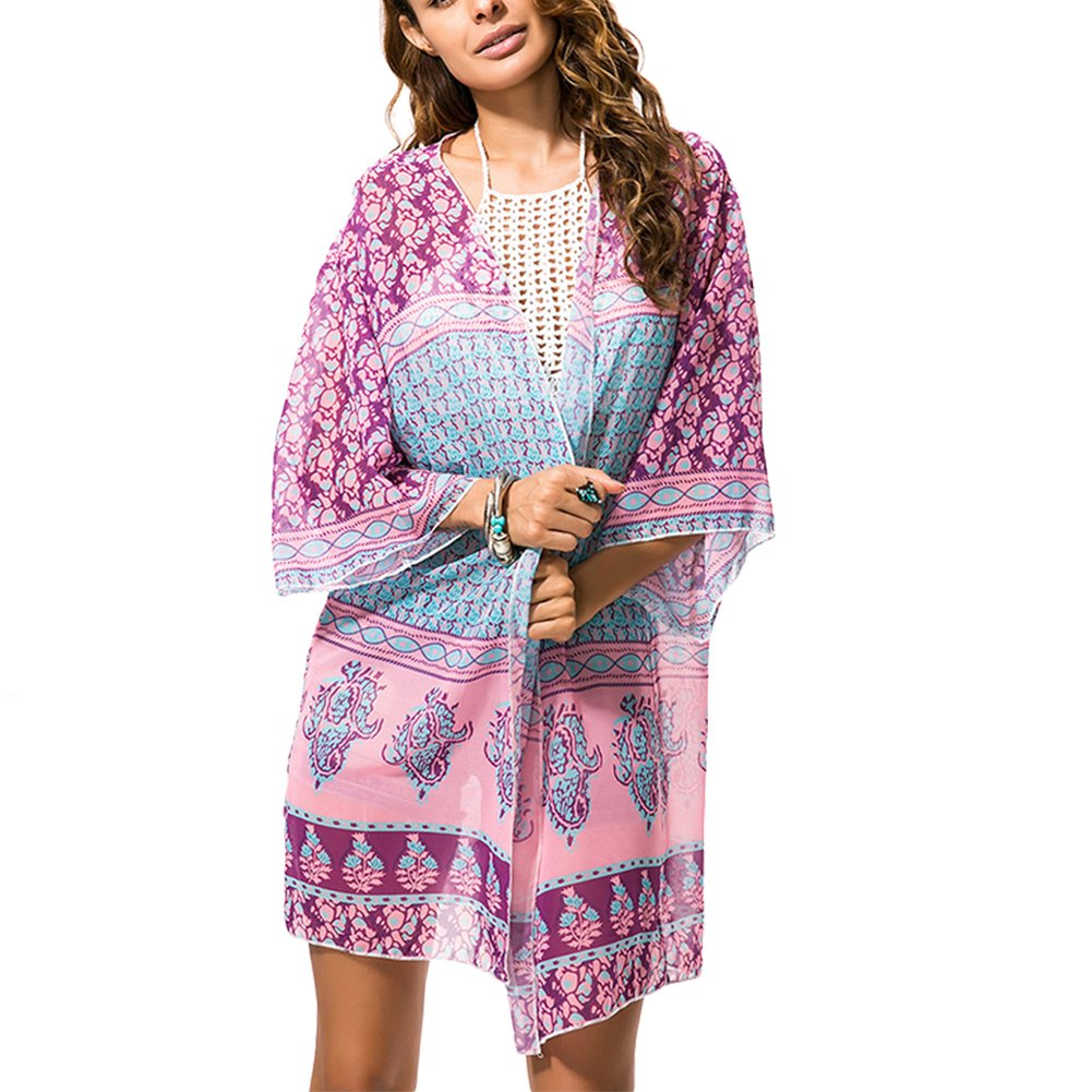 PURVIS Womens Sheer Chiffon Print Beachwear Kimono Cover Up Cardigan Capes 0421-A