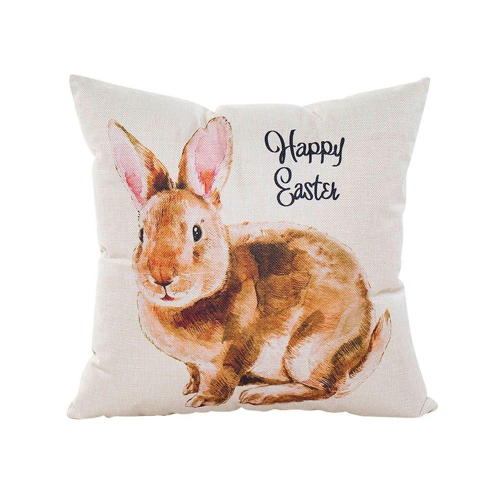 HYIRI Factory Sale Happy Easter Pillow Case Linen Thin Zipper Sofa Cushion Cover Home Decor Pillowcase