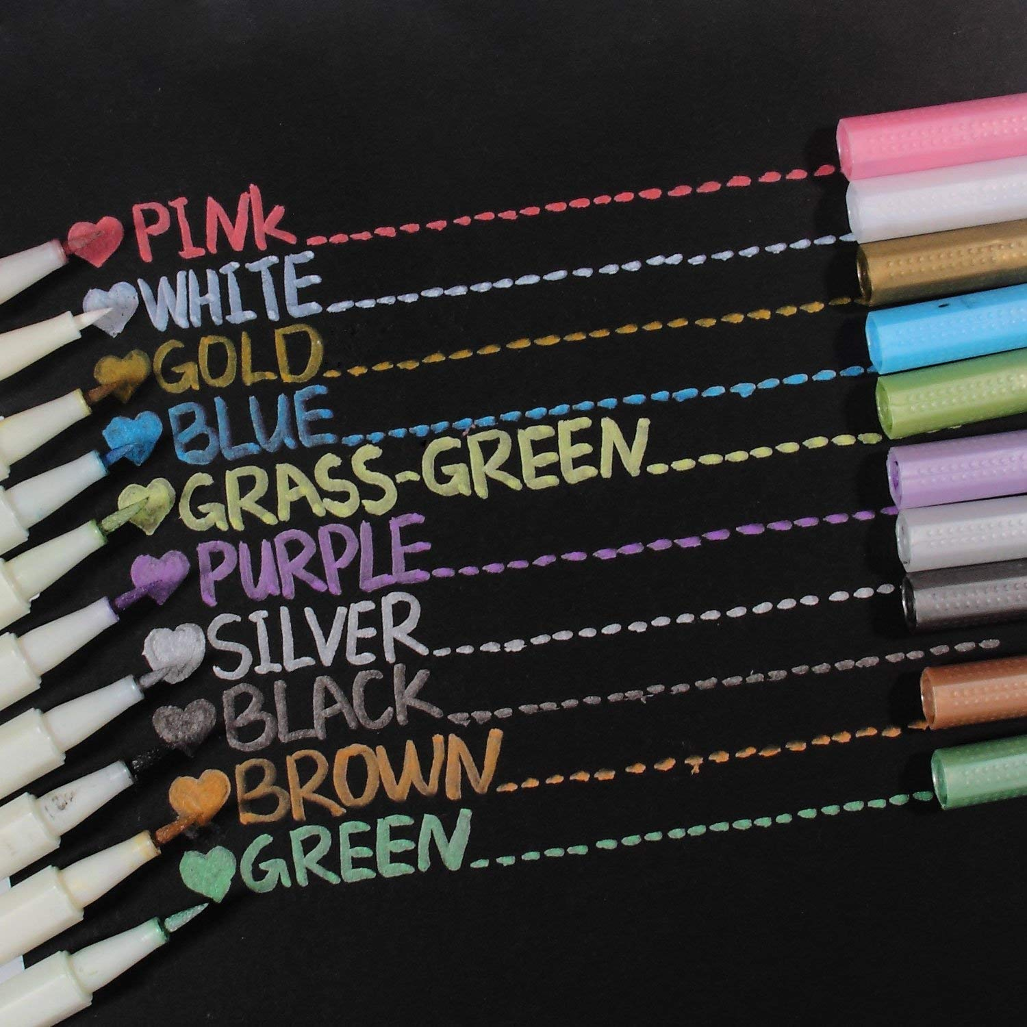 Metallic Markers Glitter Paint Pen Calligraphy Brush Pens, Ohuhu Set of 10 for DIY Birthday Greeting Gift Thank You Card, Scrapbook Photo Album, Rock Art Painting, Brush Tip Back to School Art Supply by Ohuhu (Image #8)