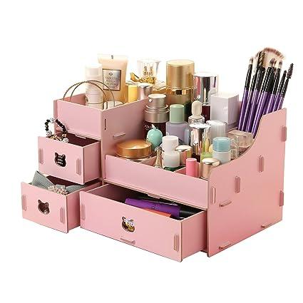 Menu Life oso Lady Joyero de madera Cajas de almacenamiento Cajas de almacenamiento de escritorio Organizador