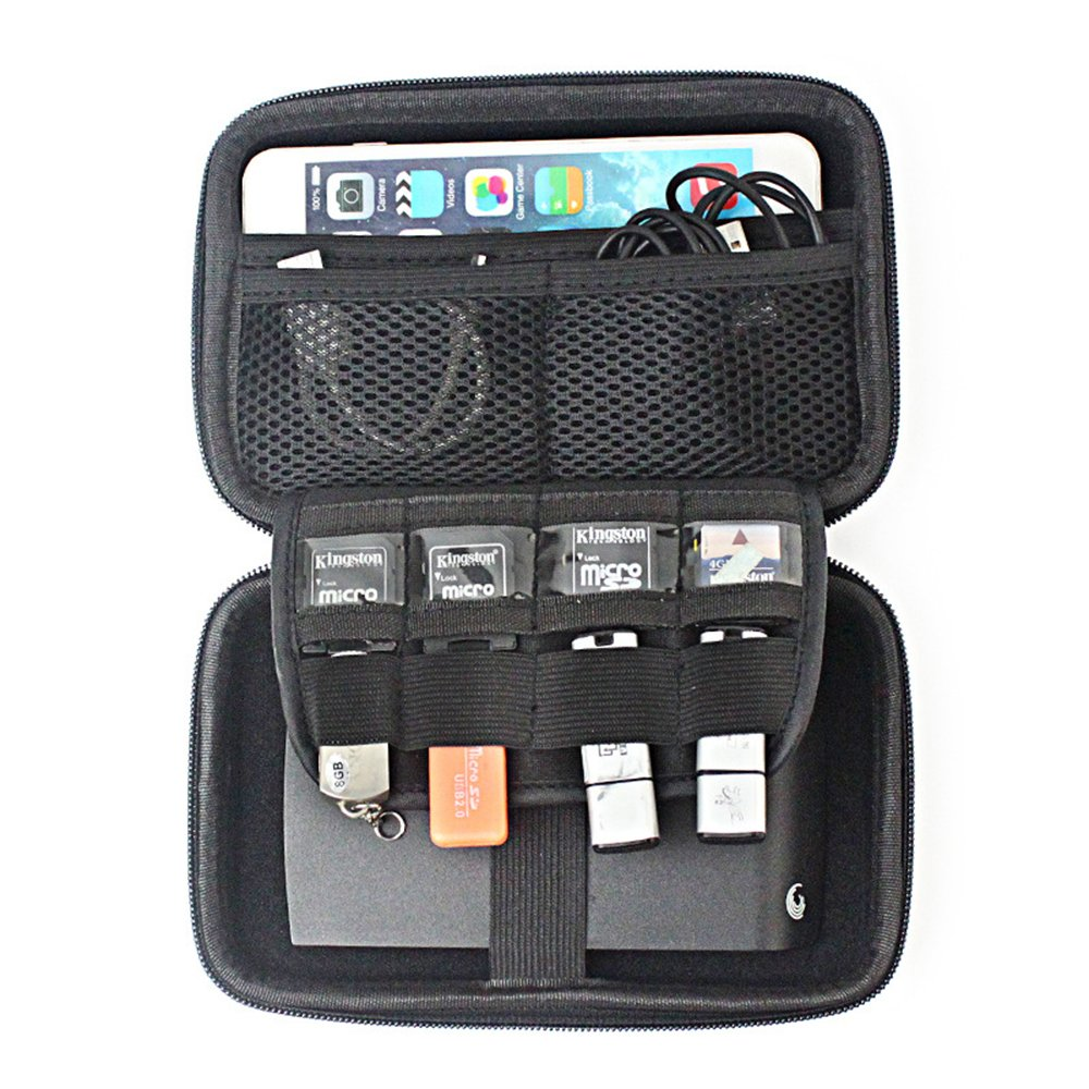 Chihom Travel Wallet Electronics Organizer, Portable Waterproof Hard Carrying Case Universal Electric Accessories Hand Bag for Various USB, Phone, Charger and Cable, Black by Chihom (Image #5)