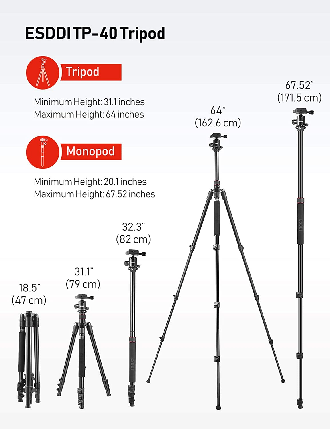 "ESDDI Camera Tripod, DSLR Tripod with 360° Ball Head, 64"" Aluminum Tripod with Monopod 1/4"" Quick Release Plate and Phone Holder for Vlog, Travel and Work : Camera & Photo"