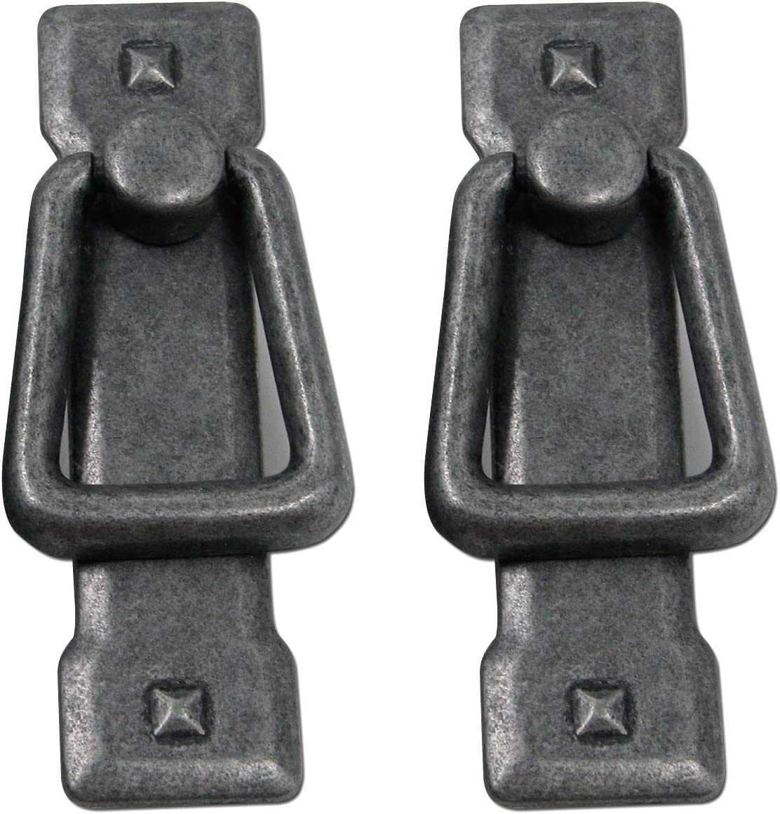 MTMTOOL 2-Pack Ancient Silver Mission Style Ring Cabinet Pull with Backplate,2.2