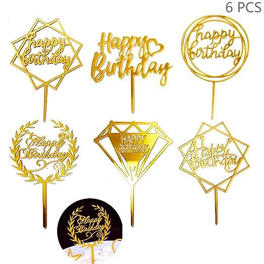 Juland 6 Piezas Feliz cumpleaños, Torta, Topper Topper de ...