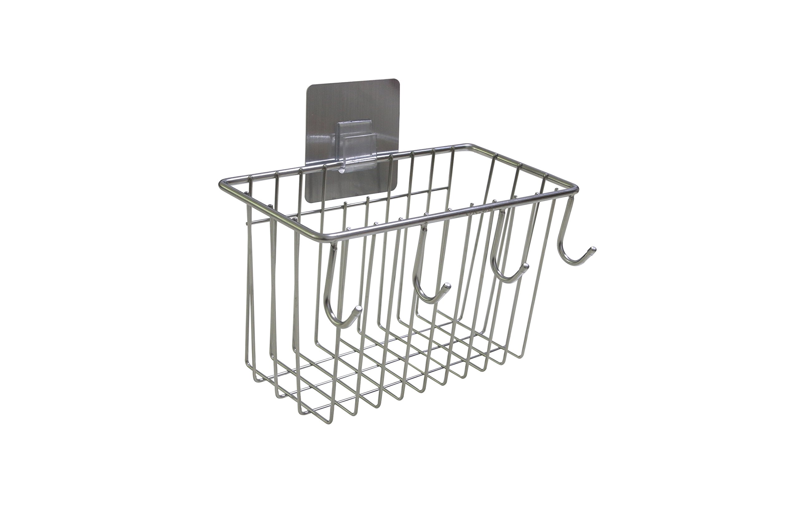 Stainless Steel Kitchen Storage Organizer Basket Rack, Brushed Finish