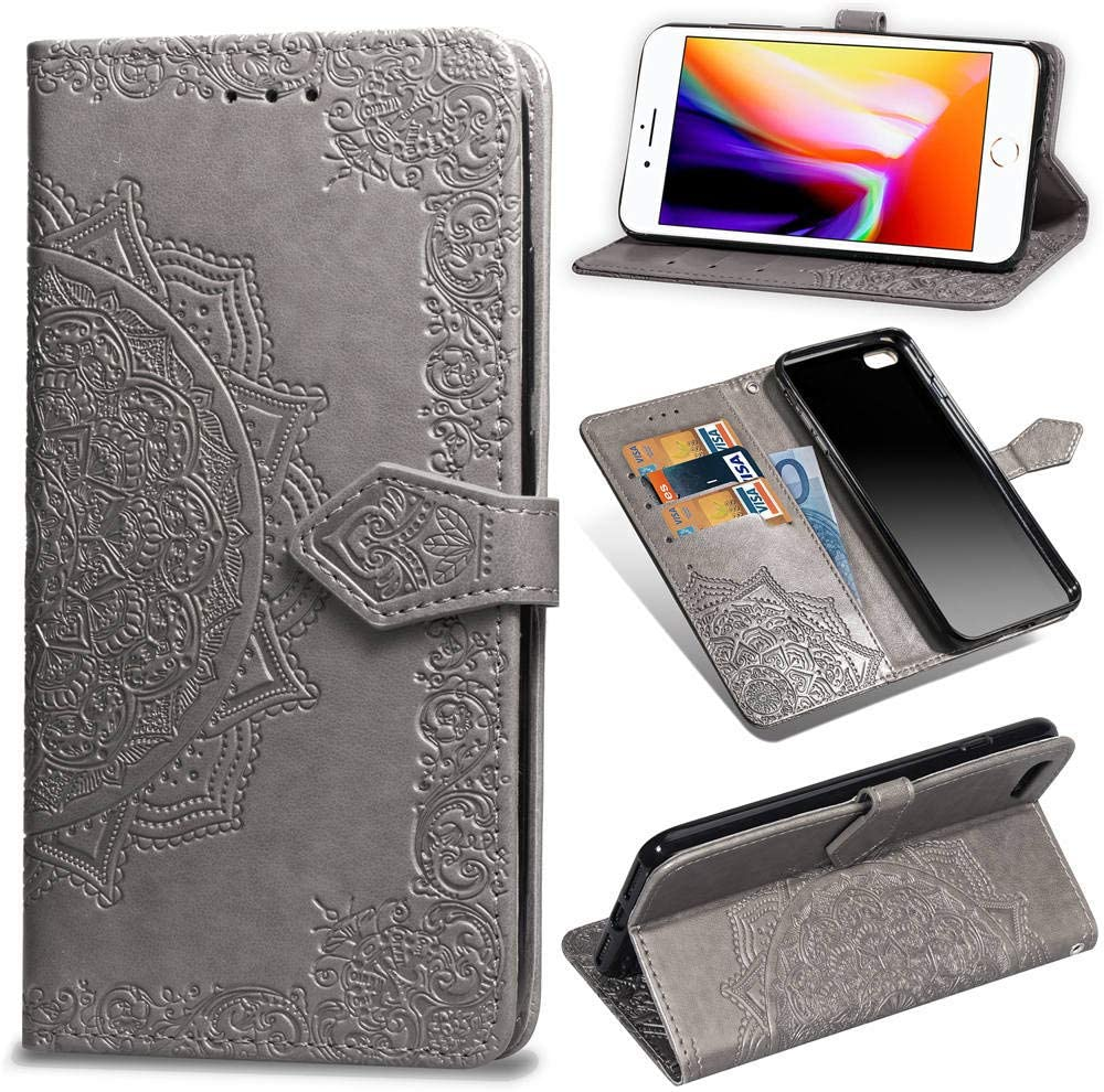 IKASEFU Shiny Rhinestone Diamond Sparkle Bling Glitter Luxury Wallet with Card Holder Flash chip Pu Leather Magnetic Flip Case Protective Cover Case Compatible with iPhone 7 Plus//8 Plus,Black