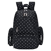 SALE-Baby Diaper Bag Smart Organizer Waterproof Travel Diaper Backpack with Changing Pad and Stroller Clips (Black Dot)