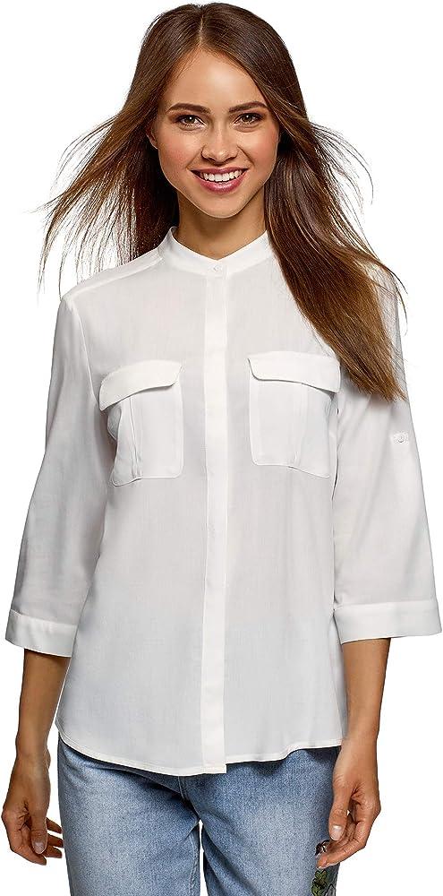 oodji Ultra Mujer Blusa de Viscosa con Bolsillos en el Pecho, Blanco, ES 36 / XS: Amazon.es: Ropa y accesorios