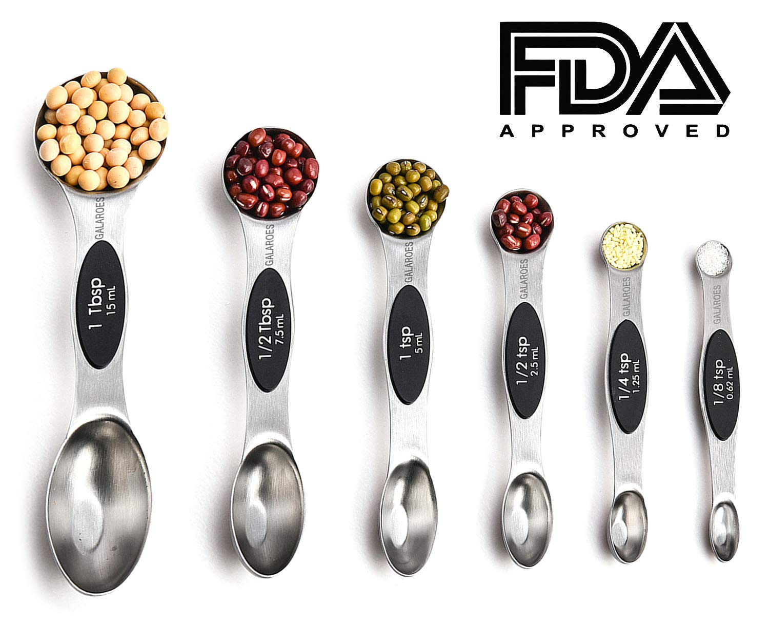 Measuring Cups and Measuring Spoons Set of 11, 6 Stackable Magnetic Measuring Spoons & 5 Nesting Stainless Steel Measuring Cups, Measuring Dry and Liquid Ingredients.