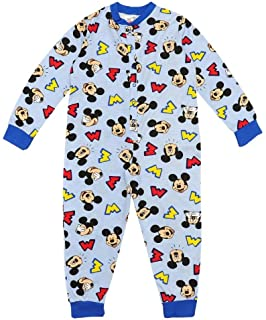 Boys Pyjamas All Inn One Jumpsuit Disney Mickey Mouse Blue 1-5 Years