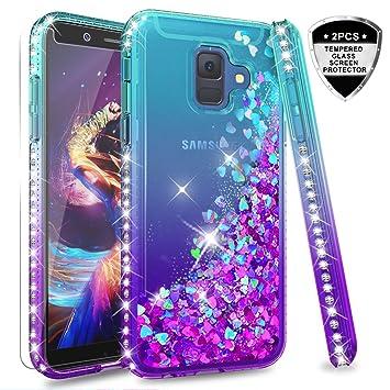 LeYi Compatible with Funda Samsung Galaxy A6 2018 Silicona Purpurina Carcasa con [2-Unidades Cristal Vidrio Templado],Transparente Cristal Bumper ...