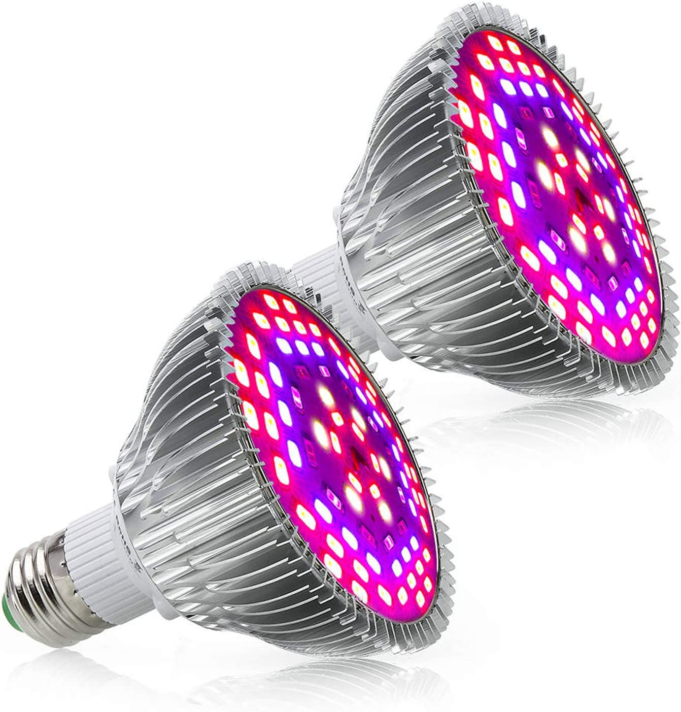 Led Grow Light Bulb 50W - Led Plant Light Full Spectrum Grow Lights E26/ E27 Base 78 LEDs for Indoor Plants, Greenhouse Hydroponic Growing, Garden Flowers, Vegetables - 2 Pcs