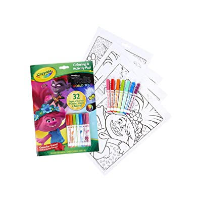 Crayola Trolls World Tour Color & Activity, Trolls 2, 32 Coloring Pages and 7 Mini Markers, Gift for Kids, Ages 3, 4, 5, 6, 7, Multicolor: Toys & Games