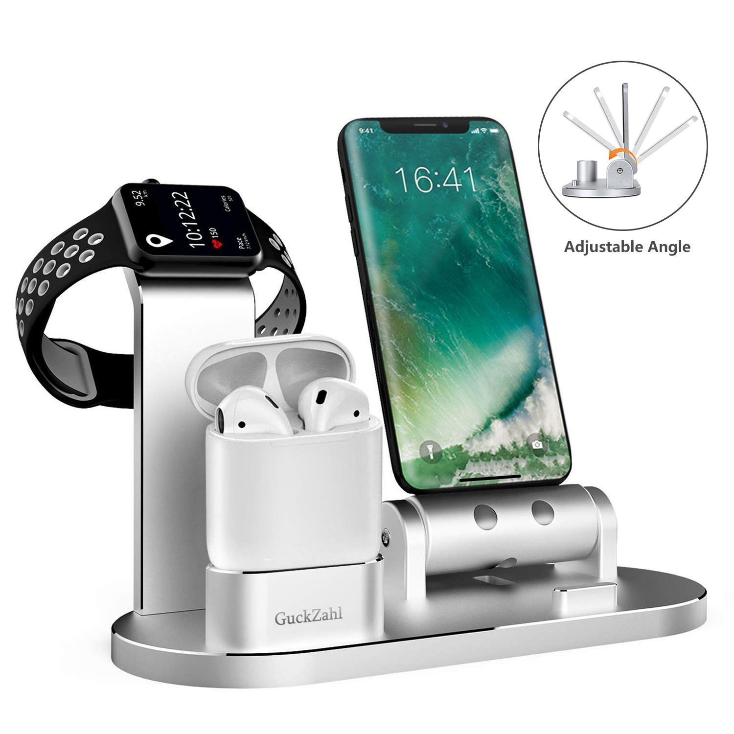 GuckZahl Apple Watch Changing Stand Aluminum 4 in 1 iWatch Charging Docks Phone Charging Station for Apple Watch Series 3/ 2/ 1/ AirPods/ iPhone X/ 8/ 8 Plus/ 7/ 7 Plus /6s/iPad Sunshine houseee