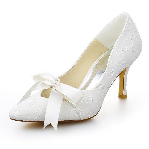 JIAJIA JIA JIA A3141 Zapatos de Novia de Las Mujeres Punta del Pie Tacón Alto Cordón Satín Zapatillas Corbata Zapatos de Boda: Amazon.es: Zapatos y ...