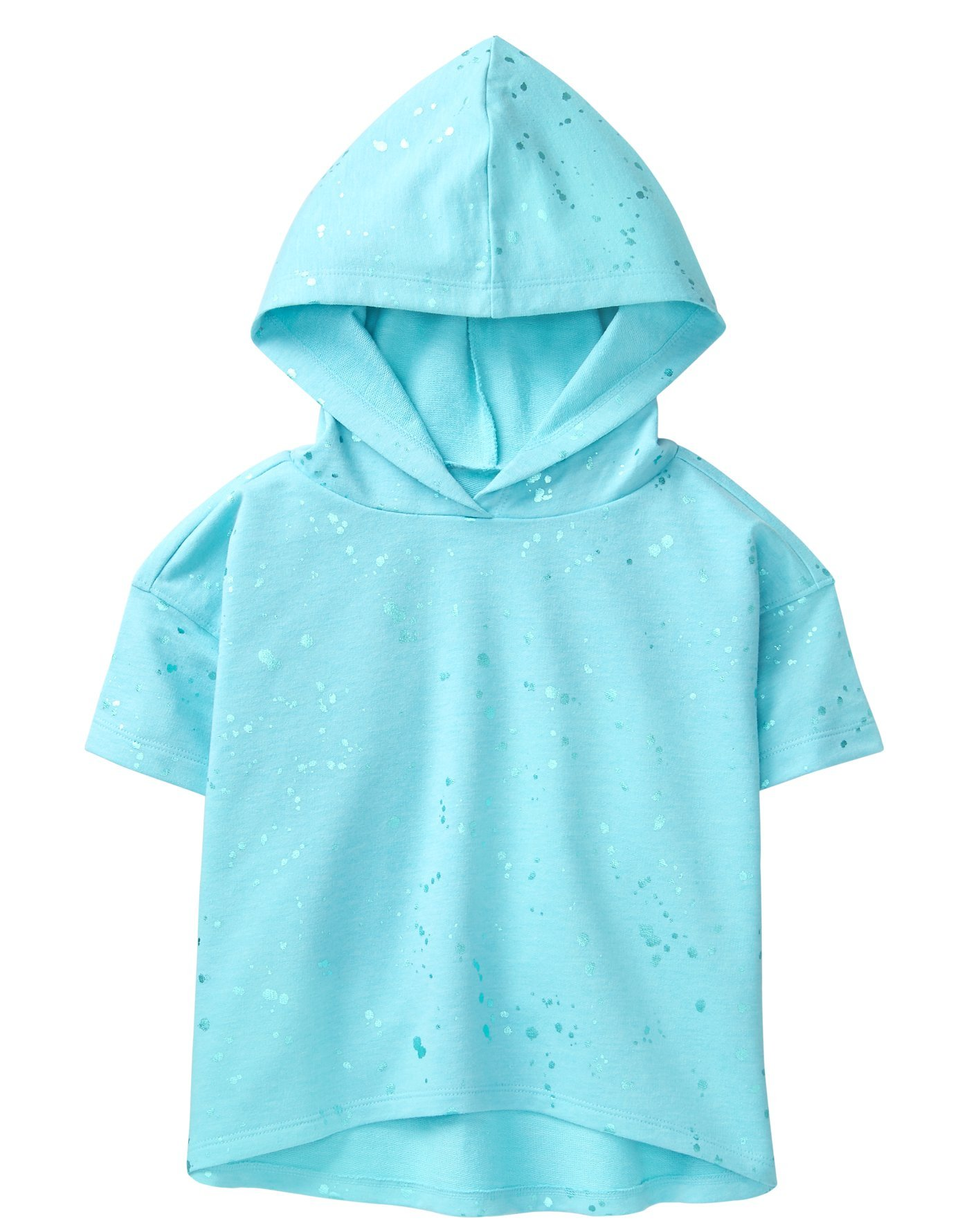 Crazy 8 Girls' Little Short Sleeve Active Splatter Hoodie, Icicle Blue, S