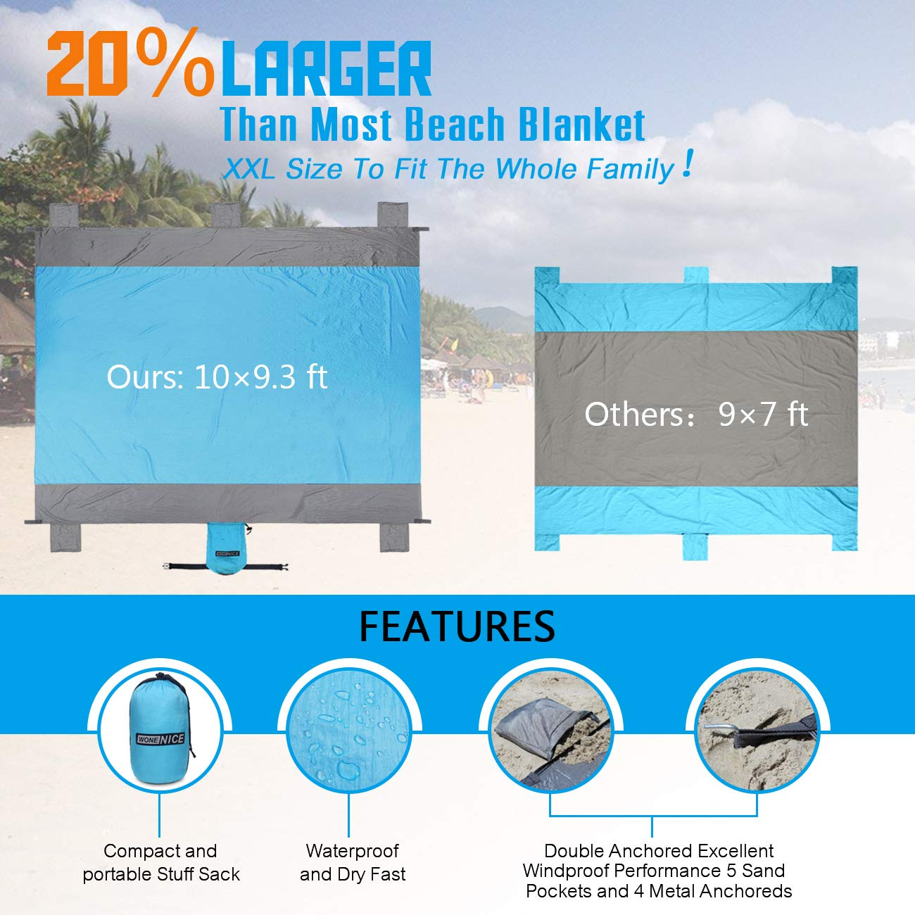 10 x 9 Extra Large Outdoor Beach Blanket Waterproof Quick-Dry Lightweight Durable Nylon Pinic Blanket with 4 Stacks for Picnic WoneNice Sand Free Beach Mat Blanket Hiking Camping