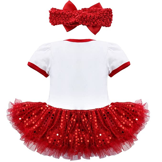 Amazon.com: iEFiEL Baby Girls First Christmas Bodysuit Tutu Romper with Headband: Clothing