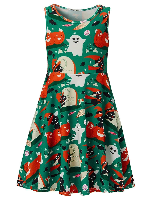 ACUCANDY Mädchen Halloween Drucken Ärmellos Kleid Midi A-Linie Casual Blumen Tank Dress(4-13Jahre)