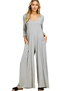 5bd0724a2c16 Annabelle Women s Comfy 3 4 Sleeve V-Neck Wide Legs Palazzo Pants Romper  Hoodie