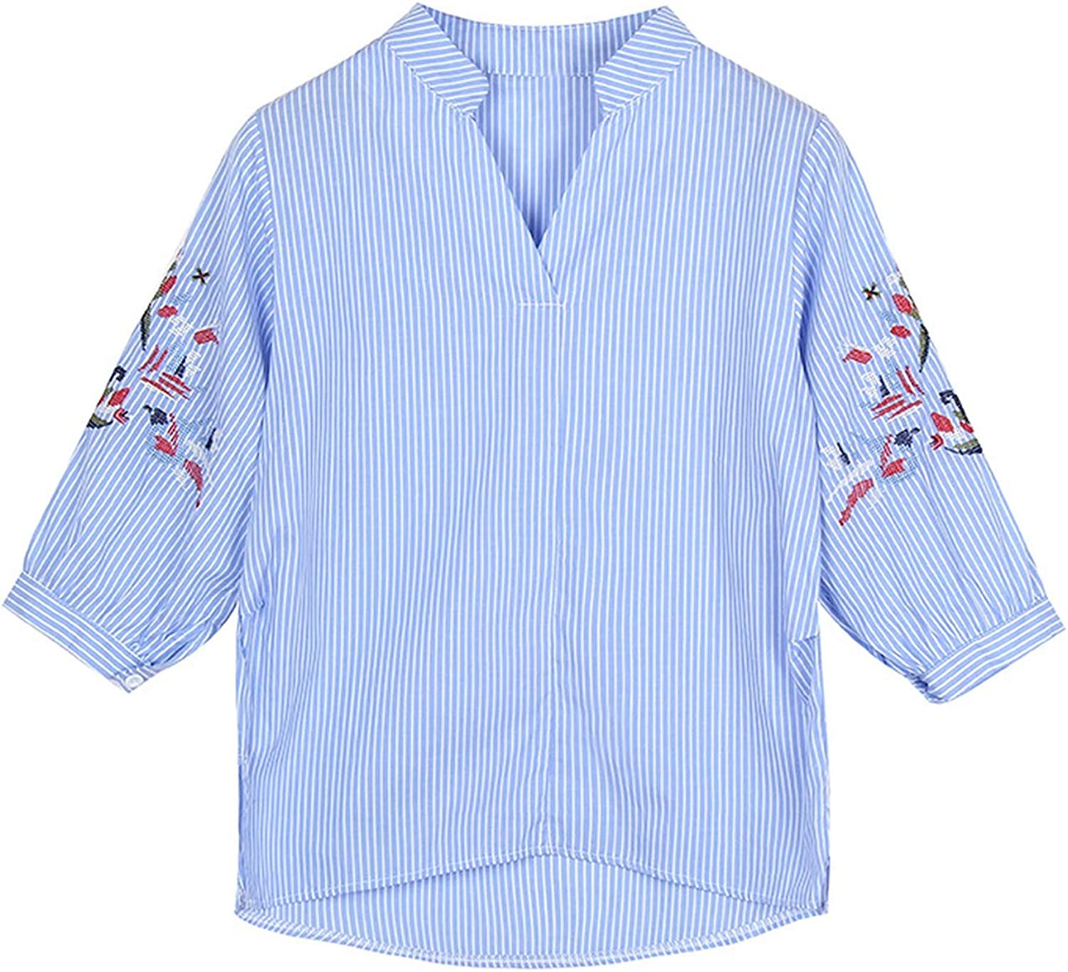 Spinning tops Five-Point Sleeve Stand Collar Blue Stripe Rust Temperament Casual Blouse