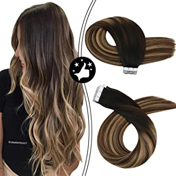 Image ofMoresoo 14 Pulgadas Extensiones de Pelo Natural Adhesivas Balayage Color Negro to Marron Oscuro Highlights with Caramelo Rubio Tape in Hair Straight Skin Weft Pelo Natural Humano 20pcs/50g