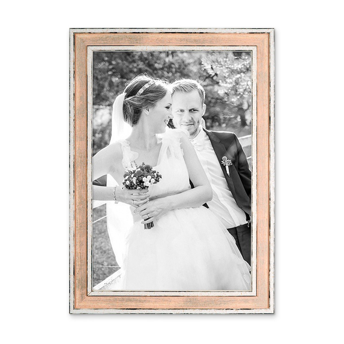 Amazon.de: PHOTOLINI Bilderrahmen Pastell/Alt-Weiß Rosa 21x30 cm/Din ...