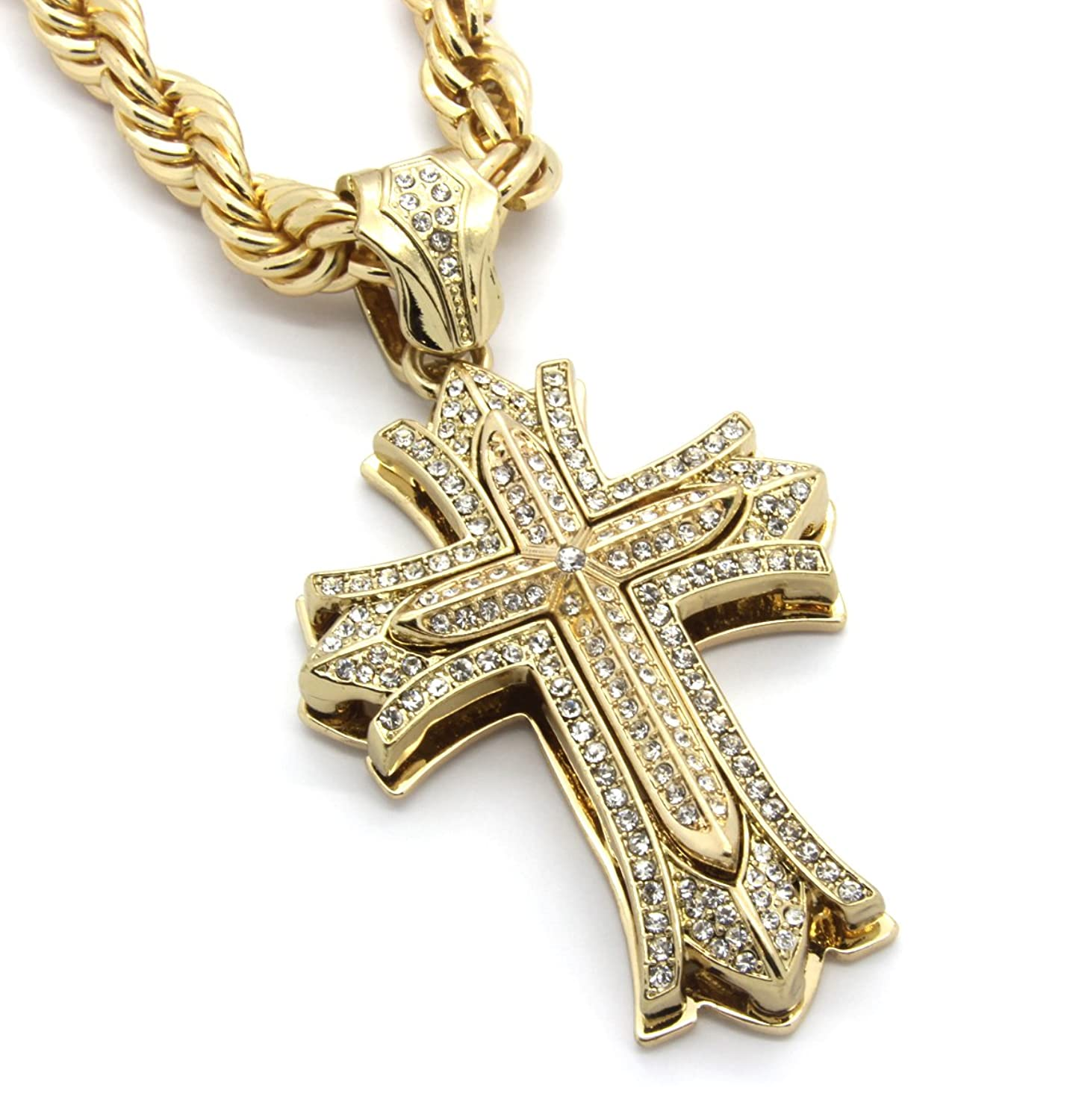Mens large thick cross gold tone iced out pendant 30 10mm necklace mens large thick cross gold tone iced out pendant 30 10mm necklace rope chain amazon aloadofball Choice Image