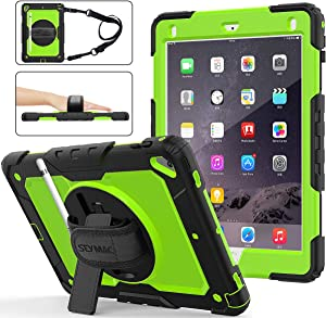 iPad 6th/5th Generation Case, SEYMAC Stock [Full-Body] Drop Protect &Shockproof Armor Protection with 360 Rotating Stand [Pencil Holder] Hand Strap for iPad 5th/6th/ Air 2/ Pro 9.7(Green+Black)