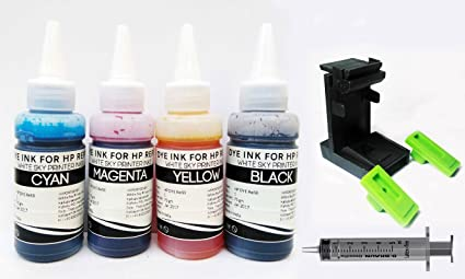 White Sky Refill Ink Compatible for HP Printer with Suction Tool for  Cartridges HP 802, 678, 901,818, 21,22, 680, 27,703, 704, 803,685, 862,  920, 808,