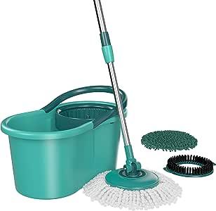 Mop Giratório 3 em 1, MOP8258, Refis substituíveis (microfibra, tira pó e limpeza pesada), 12 litros, Verde, Flash Limp