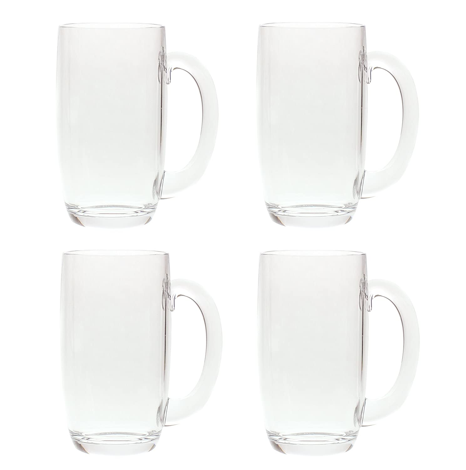 QG 21 Ounces Clear Acrylic Plastic Drinking Beer Mug Set of 4 88711-CL4P