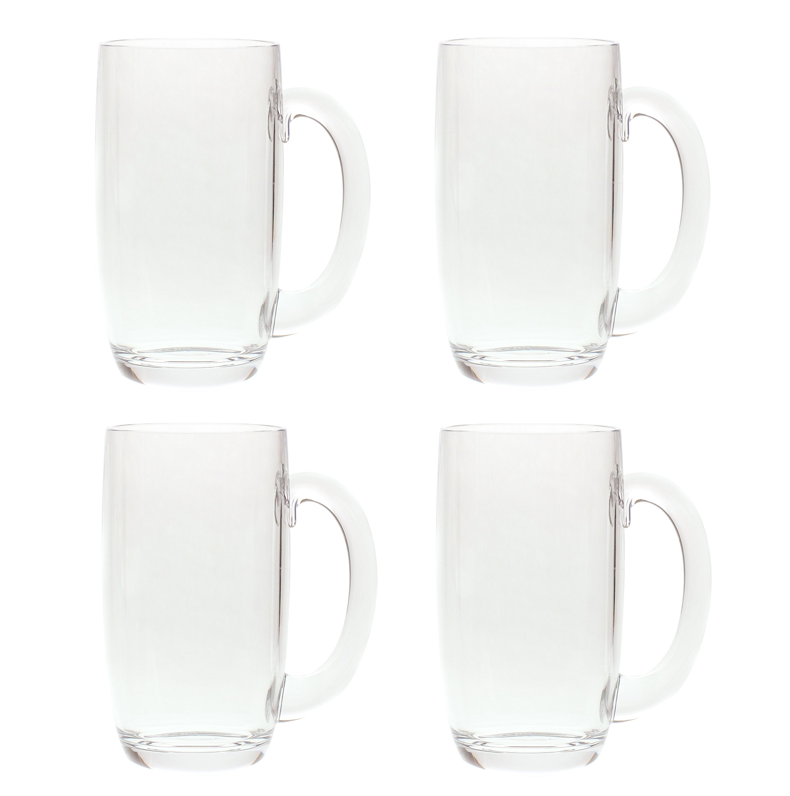 QG 21 Ounces Clear Acrylic Plastic Drinking Beer Mug Set of 4 by QGoods