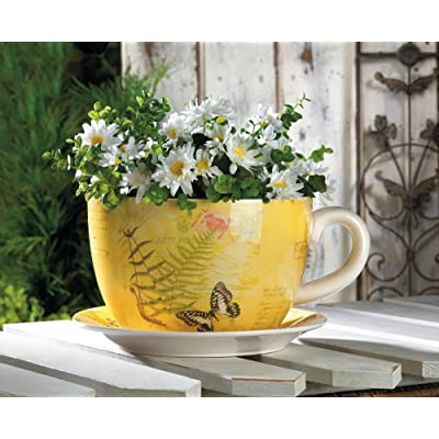 Garden Decor 10016838 Large Garden Butterfly Teacup Planter, Multicolor : Garden & Outdoor