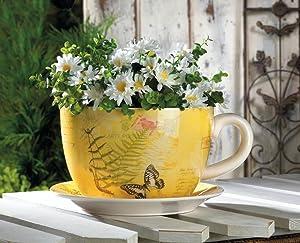 Garden Decor 10016838 Large Garden Butterfly Teacup Planter, Multicolor