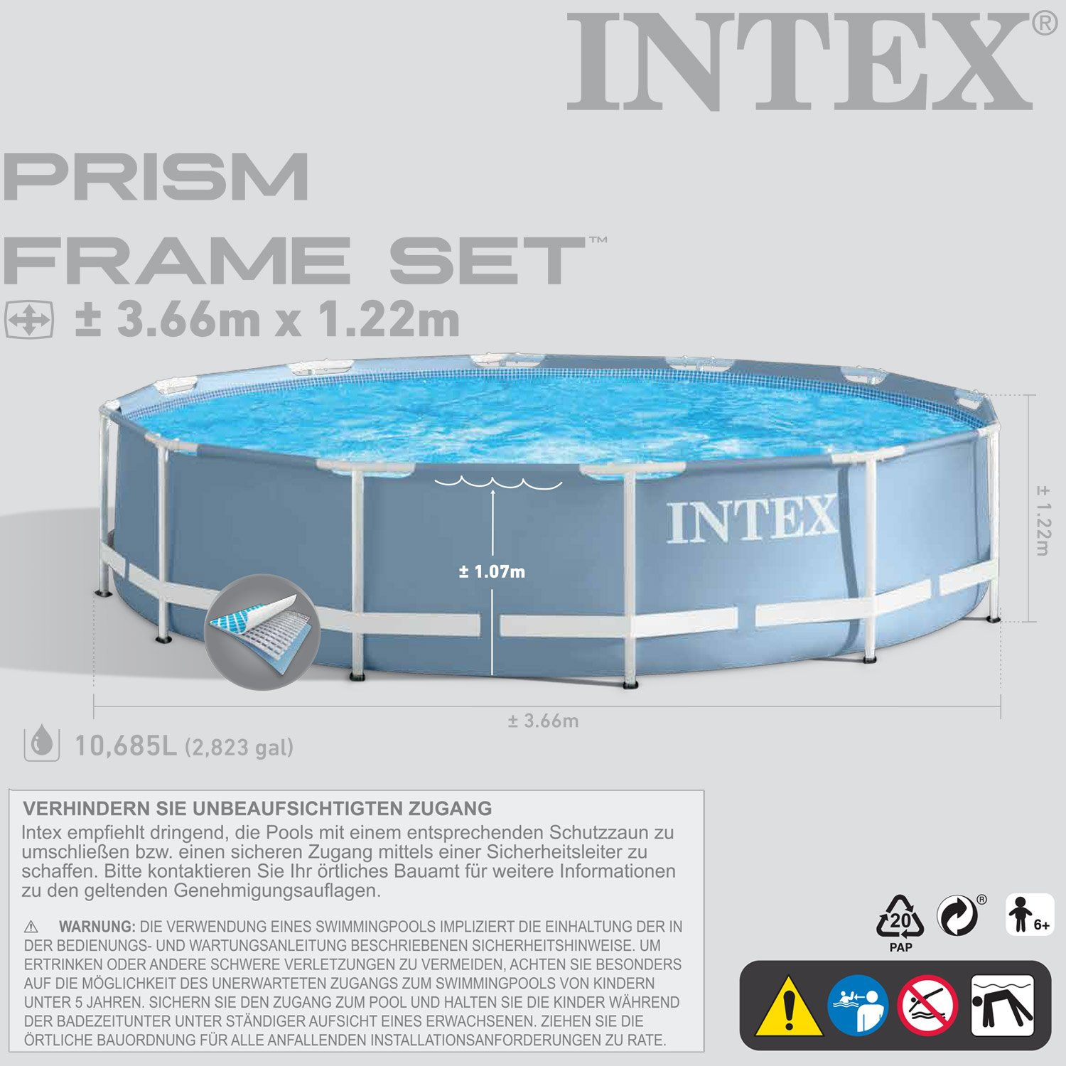 Intex 366x122 cm Schwimmbecken Swimming Pool Schwimmbad Frame Metal ...