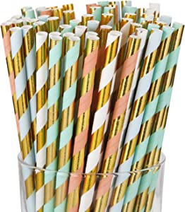 Gold Paper Straws 7.7 Inches - 100 Pack - Paper Drinking Biodegradable Paper Straws- Bulk Paper Straws for Juices, Shakes, Smoothies, Party Supplies Decorations
