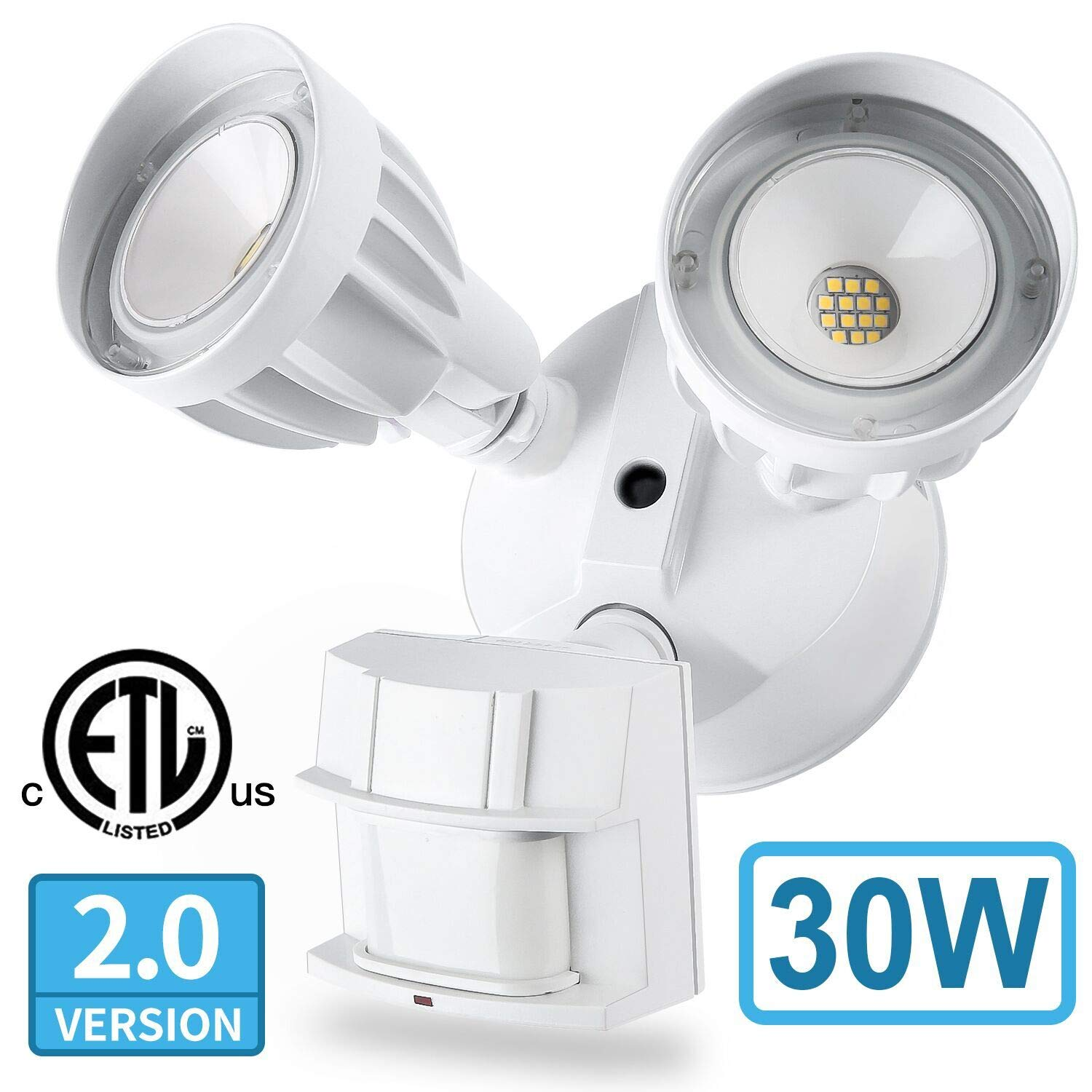 Amico 30W LED Security Light Motion Outdoor, Motion Sensor Light Outdoor, Dual-Head, 2500LM 5000K Waterproof IP65, ETL Flood Lights