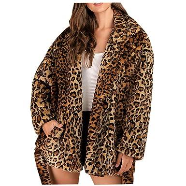 Sylar Chaqueta Mujer Felpa Con Estampado De Leopardo Abrigos ...