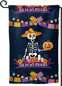 FeHuew Day of The Dead Garden Flag Vertical Double Sided 12.5 X 18 Inch Decorative Banner for Outdoor Yard