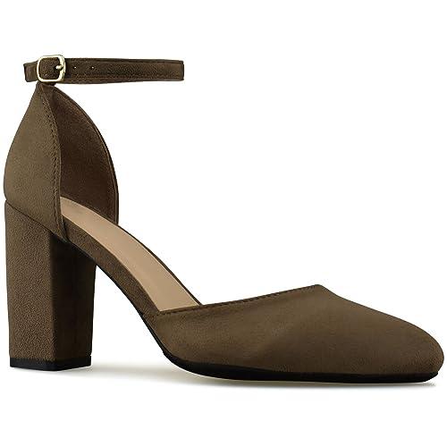 c04bb4de295 Premier Standard - Women s Low Ankle Strap Kitten Heel - Essential Mid Heel  Open Toe Dress