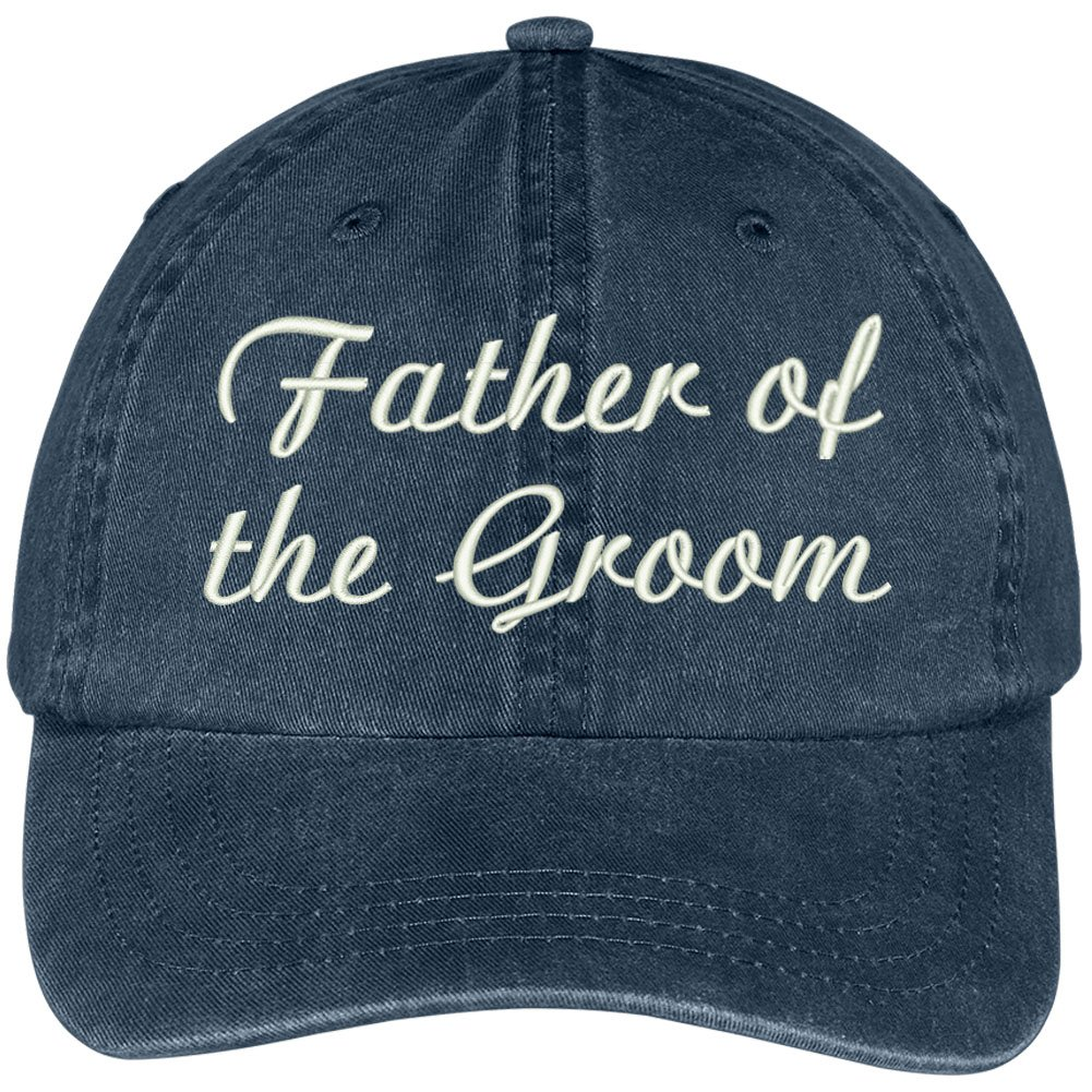 Trendy Apparel Shop Father Of The Groom Embroidered Wedding Party Pigment Dyed Cap - Navy