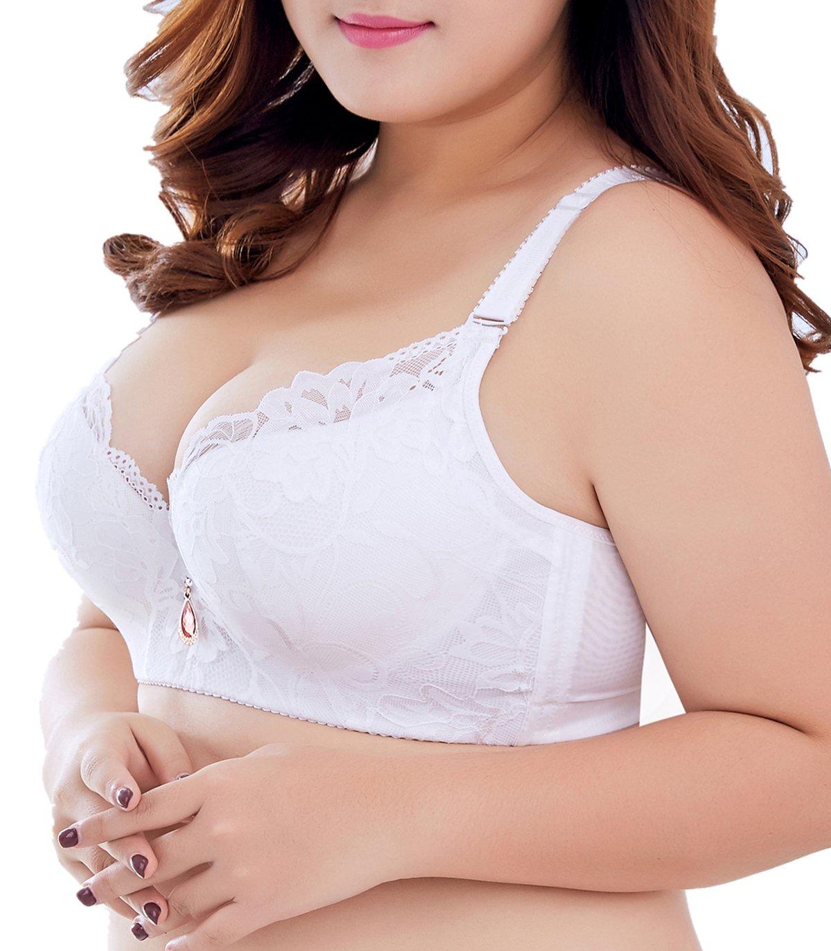 f8853d248b172 SEA BBOT Women Lace Push-up Bra Plus Size Floral Underwire Soft Cup  Everyday Bra