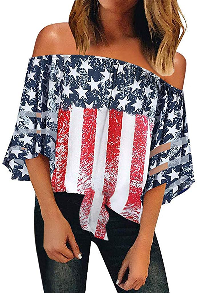 YOCheerful Women American Tops Off Shoulder Mesh Panel Blouse 3/4 Bell Sleeve Top 4th of July Shirts