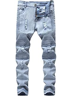 bc839ed847c5 OBT Boy's Slim Moto Biker Skinny Ripped Distressed Stretch Fashion Fit  Denim Jeans